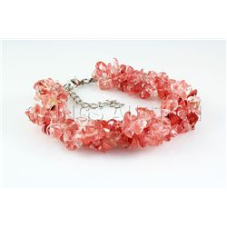 176.89CTW 7in. PINK ROSE CHIPPED STONE BRACELET METAL L