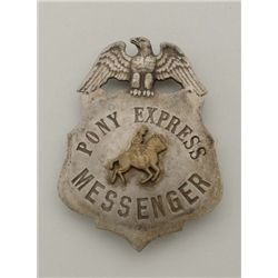 Pony Express messenger badge showing Eagle at  top and Pony Express rider in stamped brass  sweated