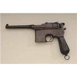 "Mauser C96 semi-auto pistol, .30 cal., 5-1/4""  barrel, brown patina, wood grips, lanyard  ring, #735"