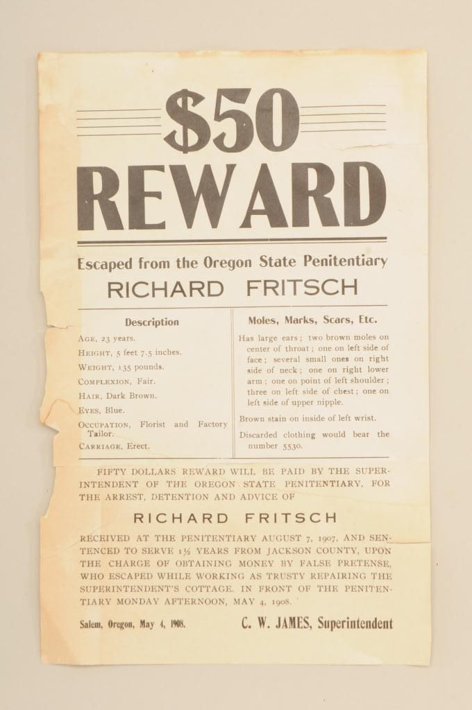 authentic 1908 50 reward flyer for the arrest detention and advice