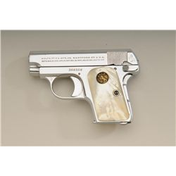 Colt model 1908 .25 caliber semi-automatic  pistol, factory nickel plated, medallion  pearl grips in