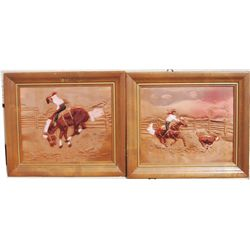 2 painted 1940-50's copper pictures