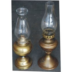 2 brass oil lamps