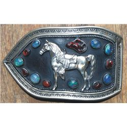 signed large silver buckle with stones