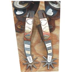 Texas style overlaid heart pattern spurs