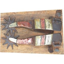 Kelly Bros silver and copper overlaid spurs