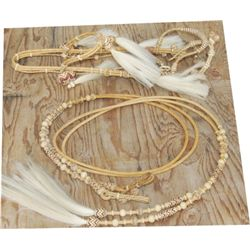 rawhide multi color set, split reins and headstall