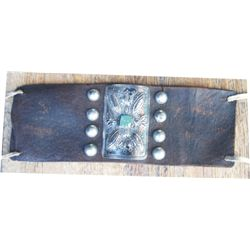"leather arm bank with 3"" silver and turquoise piece"