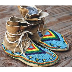beaded high top moccasins
