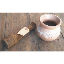 small Indian pot & Columbia River salmon wooden packing tool