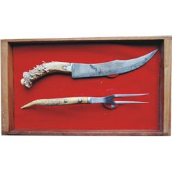 cased stag handle carving set
