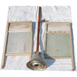 antique washer and wash boards