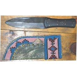 Northern Plains beaded knife scabbard and beaver tail knife