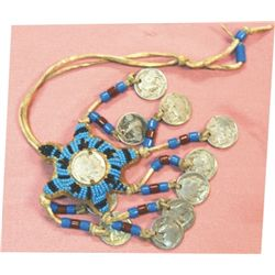 beaded Cheyenne fetish with 10 buffalo nickels