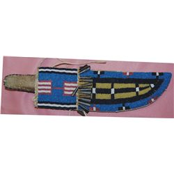 beaded knife scabbard and knife
