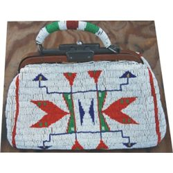 "Lakota full beaded purse, nice condition, about 12"" long"