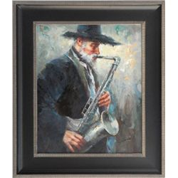 OLD MAN WITH SAXS  - ORIGINAL OIL ON CANVAS