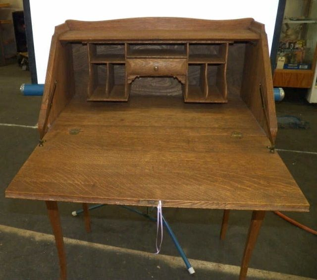 ... Image 3 : Antique Oak Drop Front Desk ... - Antique Oak Drop Front Desk