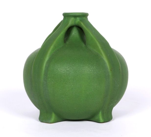 Matte Green Arts Craft Vase By Owens Pottery