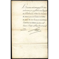 John Law  of Lauriston , 1720 Dated Hand Signed Holograph Letter.