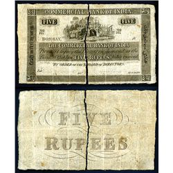 Commercial Bank of India, ND (ca. 1845) Unlisted  Bombay  Denomination Rarity.