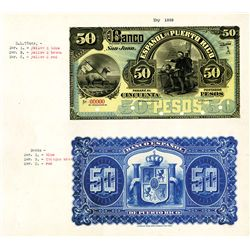Banco Espanol De Puerto Rico, ND (ca. 1889), Series A Issue Proof Banknote Pair.
