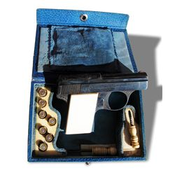 Leather cased Walther Model 9 - 22 cal. auto pistol