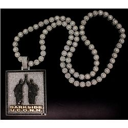 NECKLACE: Men's 10kw & palladium diamond link necklace; round cluster links, 9.64mmOD; 86 rb dias, 4