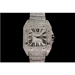 WATCH: Men's st.steel Cartier Santos 100 wristwatch w/ aftmkt diamond apptmnts; silver dial w/ black