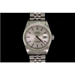 WATCH:  [1] Stainless steel gents Rolex Oyster Perpetual DateJust watch with silver dial, smooth bez