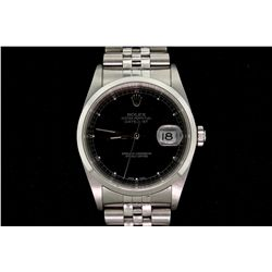 WATCH:  [1] Stainless steel gents Rolex Oyster Perpetual DateJust watch with black dial, smooth beze