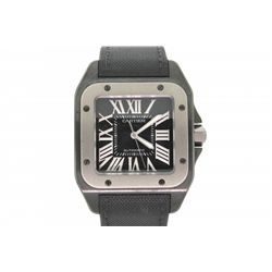 WATCH: Large black ADLC coated st.steel Cartier Santos 100 wristwatch; black dial w/ silver Romans;