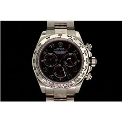 ROLEX: Men's 18kw Rolex O.P. Daytona Cosmograph wristwatch; grey dial w/ white gold Arabics; syn sap