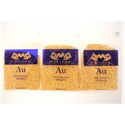 GOLD PELLETS:  [3] PMP (Prime Metal Products) bags of 999.9 Fine Gold pellets; 3009.7 grams, total w