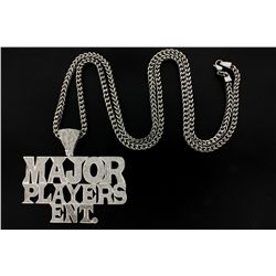 PENDANT: Men's 10kw  Major Players Ent.  diamond pendant; 947 rd dias, 0.9mm to 1.0mm = est 4.70cttw