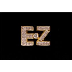 RING: Lady's 14kw (yellow plated) initial  EZ  invisible set diamond ring; 1 (ctr) rb dia, 5.0mm = e