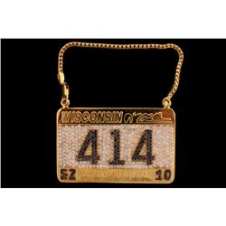 PENDANT: Men's 14ky Wisconsin license plate motif treated black & white diamond pendant;  414  in ct