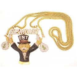 NECKLACE: Men's 14ky  E-Z Money Ent  banker with money bags motif pave treated black, yellow, orange