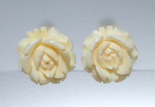 Image 2 Vintage Pre Ban Ivory Signed Lisner Carved Rose Earrings And Pin