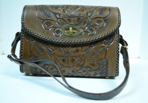 joo kay vintage antique brown hand tooled leather bag purse