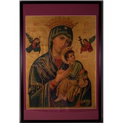 Early 19th Century Madonna and Child (Imprime En Suisse).  Framed and matted. [< 5(lbs),