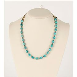Small Ladies Turquoise & Silver Beaded Necklace