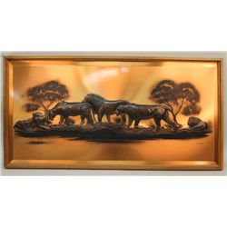 Large Copper Embossed Pictures of a Lion Pride