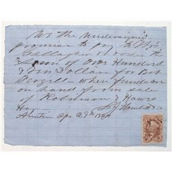 Territorial note with 5c revenue stamp