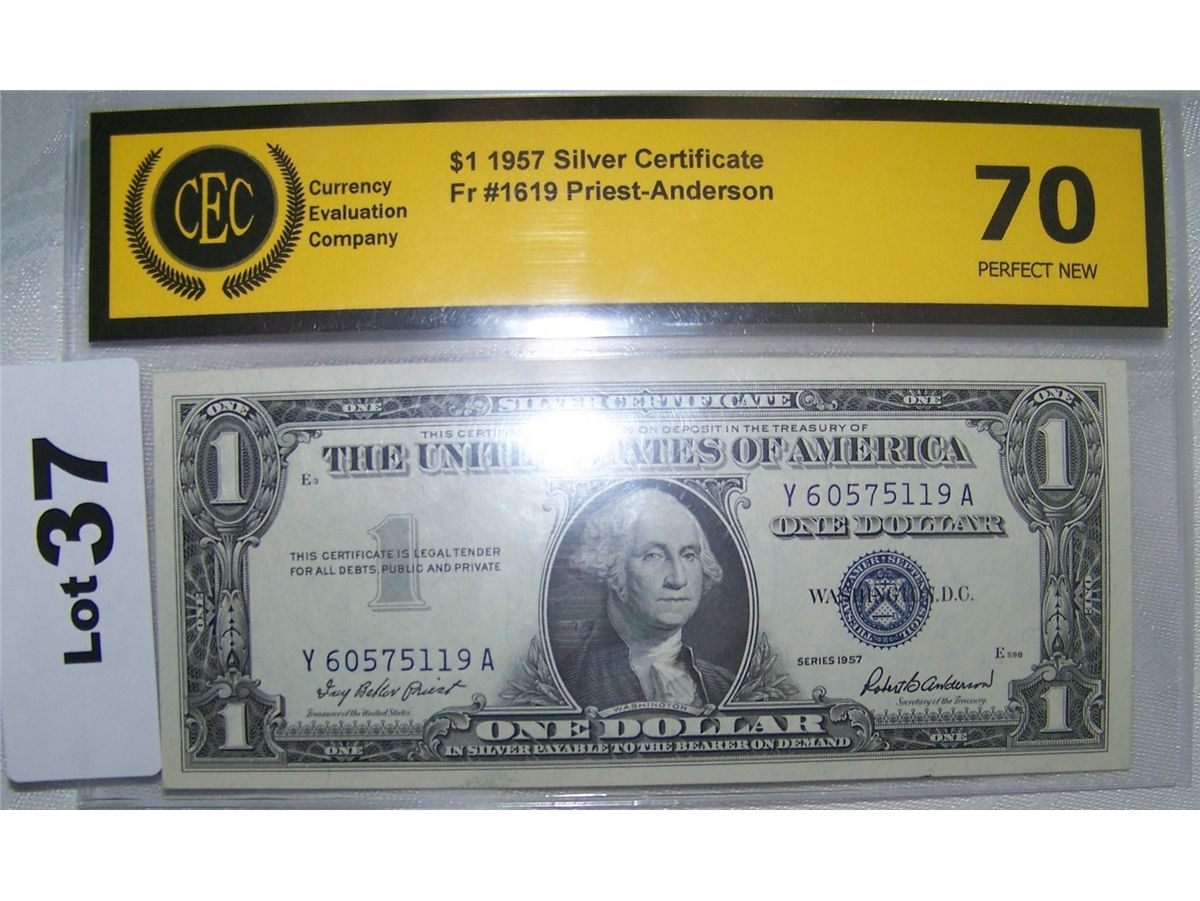 1957 Us 1 Silver Certificate Note Cec Graded 70 Perfect Fr