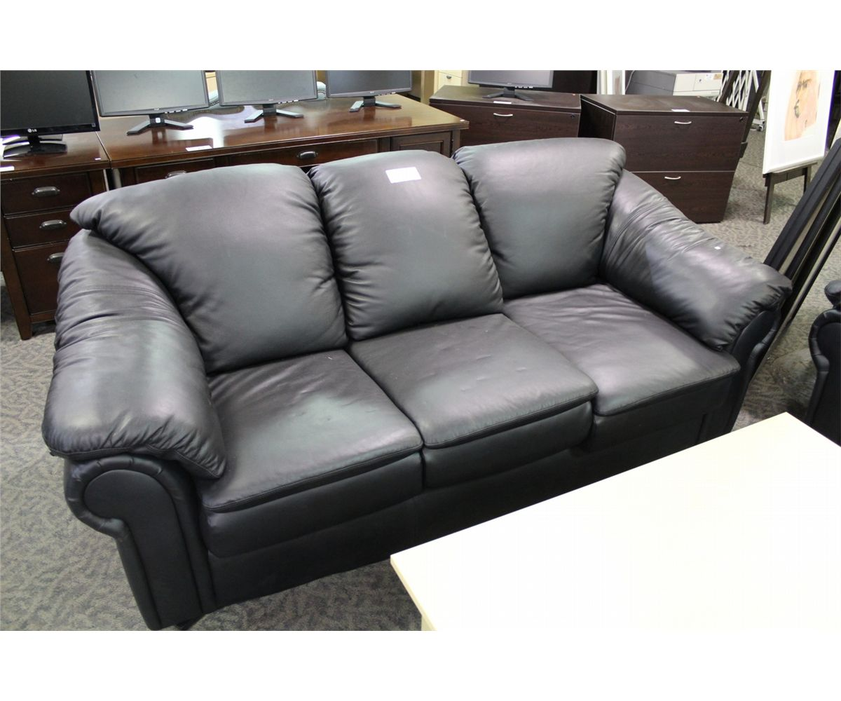 Black Overstuffed Leather 3 Seat Sofa And Armchair Able Auctions