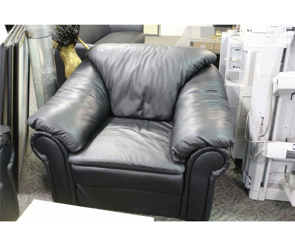 BLACK OVERSTUFFED LEATHER 3 SEAT SOFA AND ARMCHAIR