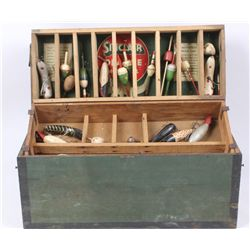 Antique Fishing Box and Lure Collection