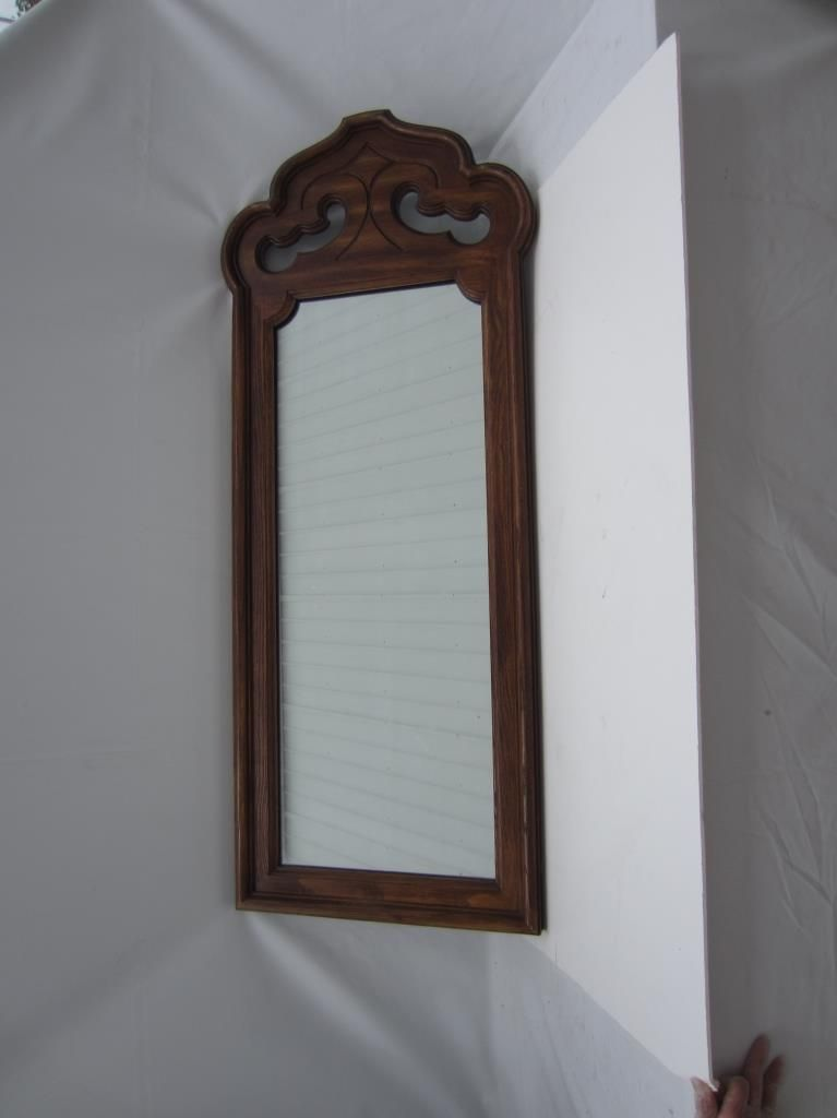 Beautiful vintage antique stroupe mirror beautiful for Large wall mirror wood frame