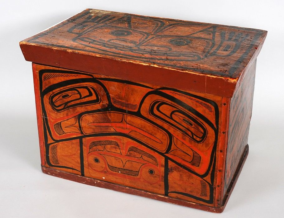 Bella Bella Bent Wood Box With Painted Design Carved By Captain